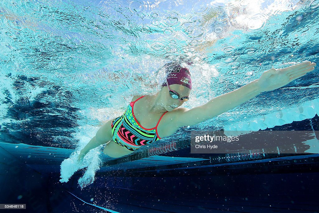 Swimmer <a gi-track='captionPersonalityLinkClicked' href=/galleries/search?phrase=Emma+McKeon&family=editorial&specificpeople=7147243 ng-click='$event.stopPropagation()'>Emma McKeon</a> swims during a portrait session on May 27, 2016 in Brisbane, Australia.