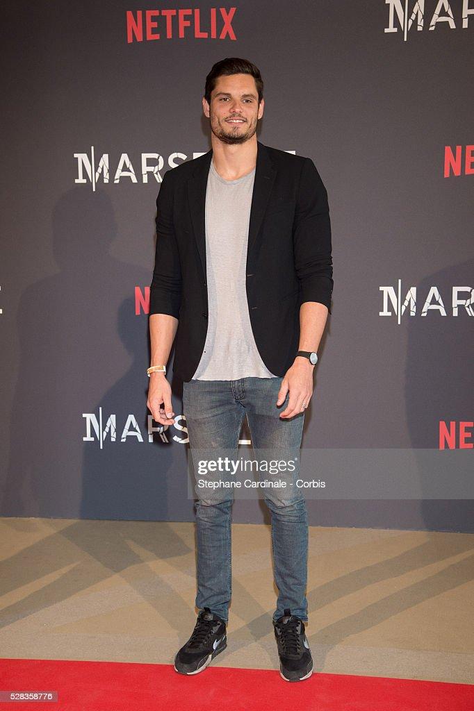 Swimmer Florent Manaudou attends the 'Marseille' Netflix TV Serie World Premiere At Palais Du Pharo In Marseille, on May 4, 2016 in Marseille, France.