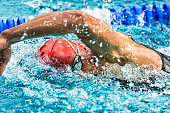 athlete in crawl swimming