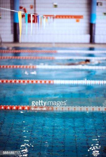 Swimmer in indoor pool