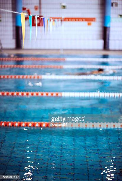 Swimmer in indoor pool
