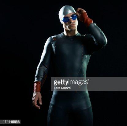 swimmer in wetsuit