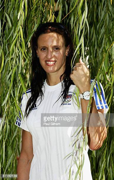 Swimmer Karen Pickering of Great Britain poses outside the team hotel at the Team GB Holding Camp on August 7 2004 in Coral Bay Cyprus Karen...