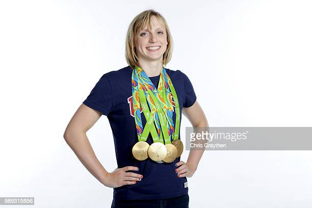 MINIMUM FEES APPLY MINIMUM PRINT/BROADCAST FEE OF 500 USD ONLINE FEE OF 500 USD OR LOCAL EQUIVALENT Swimmer Katie Ledecky of the United States poses...