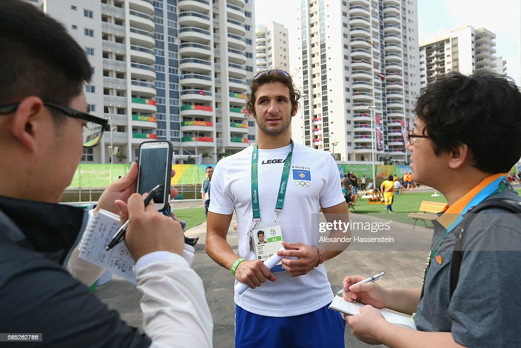 Swimmer Lum Zhaveli of Kosovo talks to journalists at the Olympic Village ahead of the Rio 2016 Olympic Games on August 2 2016 in Rio de Janeiro...