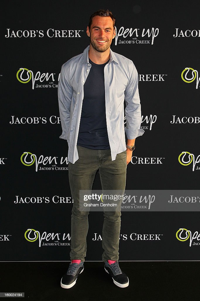 Swimmer <a gi-track='captionPersonalityLinkClicked' href=/galleries/search?phrase=Matt+Targett&family=editorial&specificpeople=4476842 ng-click='$event.stopPropagation()'>Matt Targett</a> arrives at the screening of the Jacob's Creek Open Film Series 2 at Maia Docklands on January 25, 2013 in Melbourne, Australia.