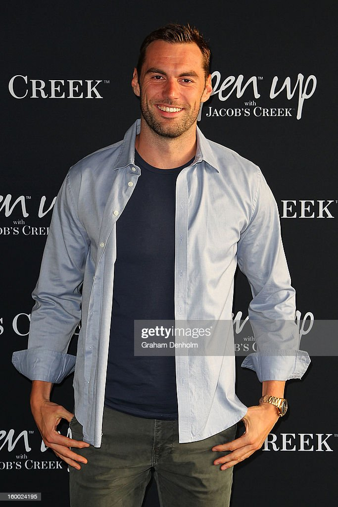 Swimmer Matt Targett arrives at the screening of the Jacob's Creek Open Film Series 2 at Maia Docklands on January 25, 2013 in Melbourne, Australia.