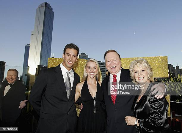 Swimmer Matt Welsh and partner Lauren Newton pose with Patti Newton and Bert Newton during the launch for 'Bert's Family Feud' TV show at Breezes on...