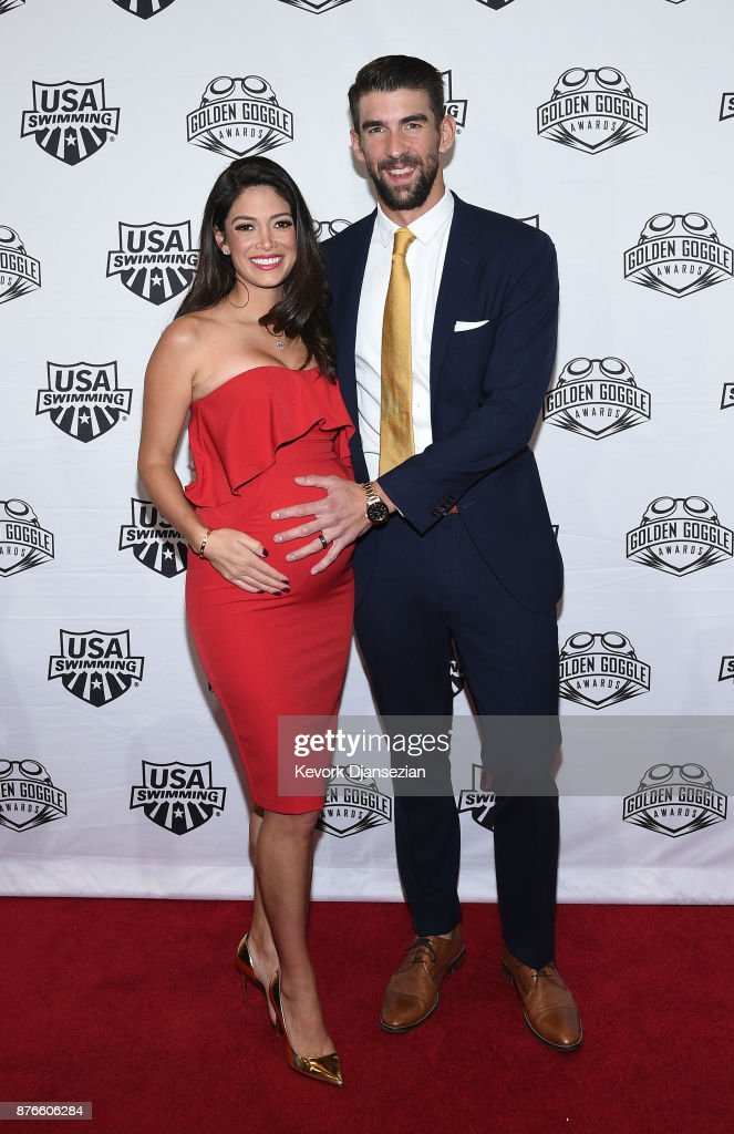Swimmer Michael Phelps and wife Nicole Johnson attend the 2017 USA Swimming Golden Goggle Awards at J.W. Marriott at L.A. Live on November 19, 2017, in Los Angeles, California.