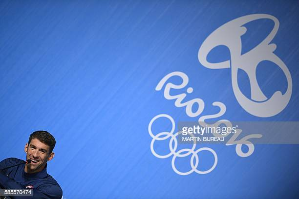 TOPSHOT US swimmer Michael Phelps holds a press conference on August 3 2016 in Rio de Janeiro two days prior the opening ceremony of the Rio 2016...