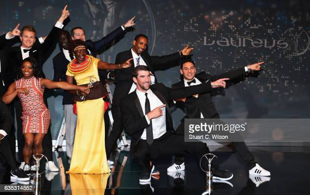 Swimmer Michael Phelps of the US winner of the Laureus World Comeback of the Year poses on stage with other winners during the 2017 Laureus World...