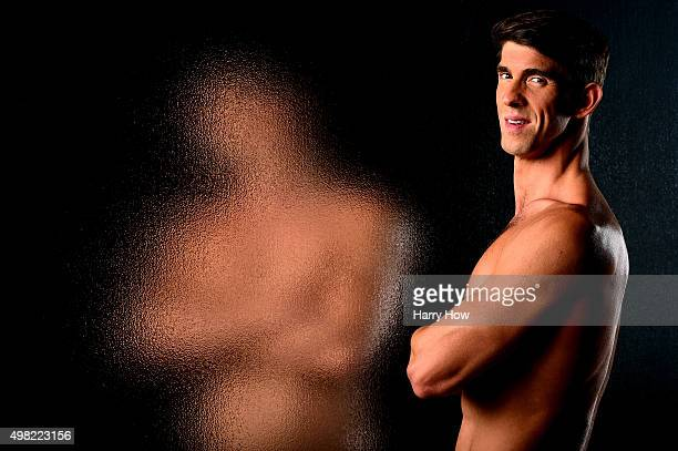 Swimmer Michael Phelps poses for a portrait at the USOC Rio Olympics Shoot at Quixote Studios on November 21 2015 in Los Angeles California