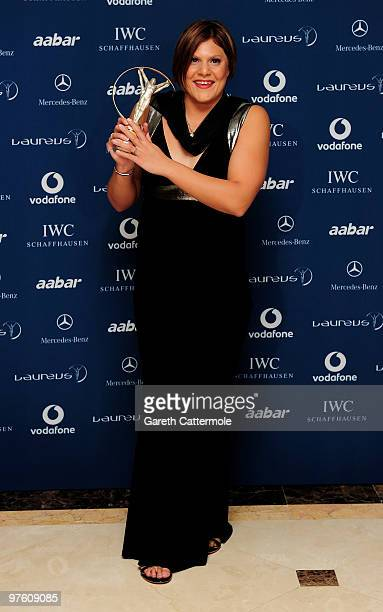 Swimmer Natalie du Toit poses with her award for ' Laureus Disability Award' in the Awards room during the Laureus World Sports Awards 2010 at...