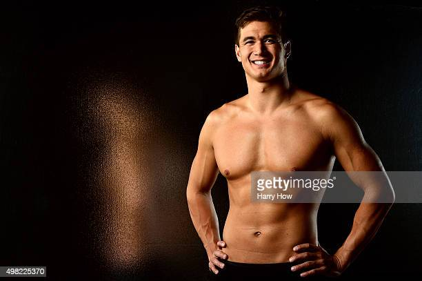 Swimmer Nathan Adrian poses for a portrait at the USOC Rio Olympics Shoot at Quixote Studios on November 21 2015 in Los Angeles California