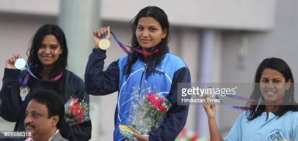 Swimmer of Delhi Richa Misra wins Gold Medal along with Pooja R Alawa Karnataka who wins Silver Medal and Rhujuta Batt Maharastra Bronze Medal winner...
