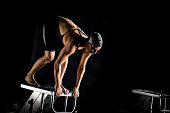 Swimmer On A Swimming Starting Block