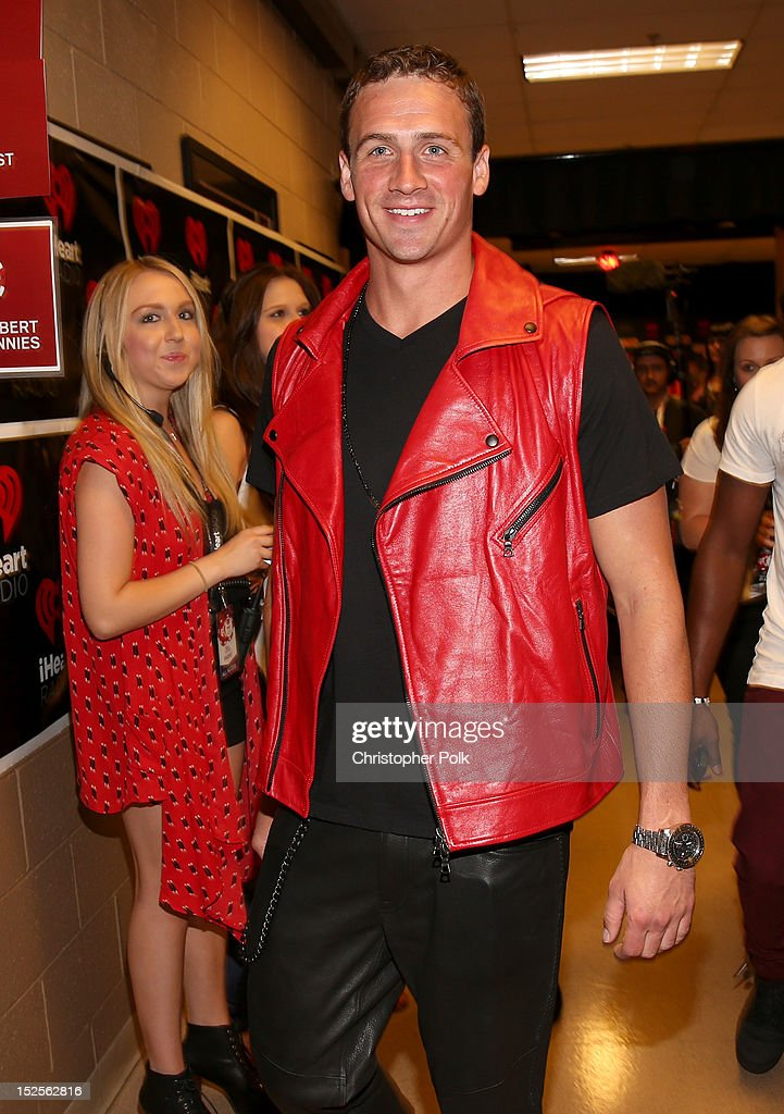 Swimmer Ryan Lochte appears backstage during the 2012 iHeartRadio Music Festival at the MGM Grand Garden Arena on September 21, 2012 in Las Vegas, Nevada.