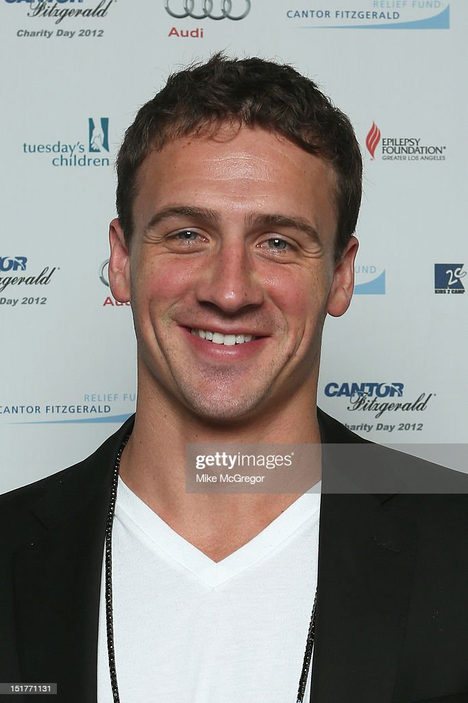 Swimmer <a gi-track='captionPersonalityLinkClicked' href=/galleries/search?phrase=Ryan+Lochte&family=editorial&specificpeople=182557 ng-click='$event.stopPropagation()'>Ryan Lochte</a> attends Cantor Fitzgerald & BGC Partners host annual charity day on 9/11 to benefit over 100 charities worldwide at Cantor Fitzgerald on September 11, 2012 in New York City.