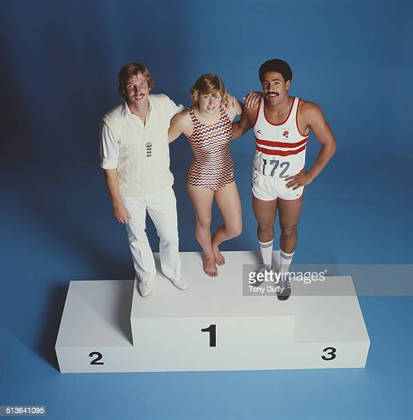 Swimmer Sharron Davies of Great Britain Somerset and England cricketer Ian Botham and Decathalon champion Daley Thompson on 1st May1979 at the...