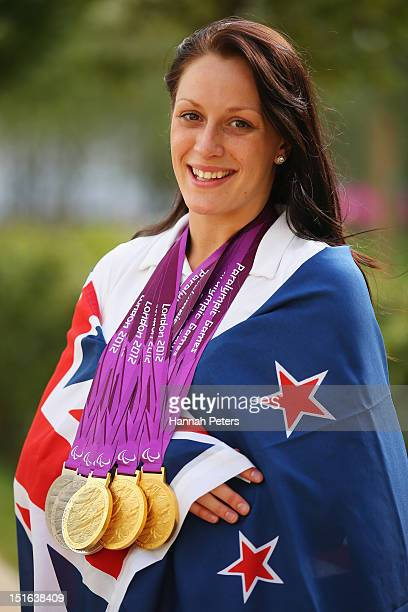 Swimmer Sophie Pascoe of New Zealand poses with her medals at Olympic Park on September 9 2012 in London England