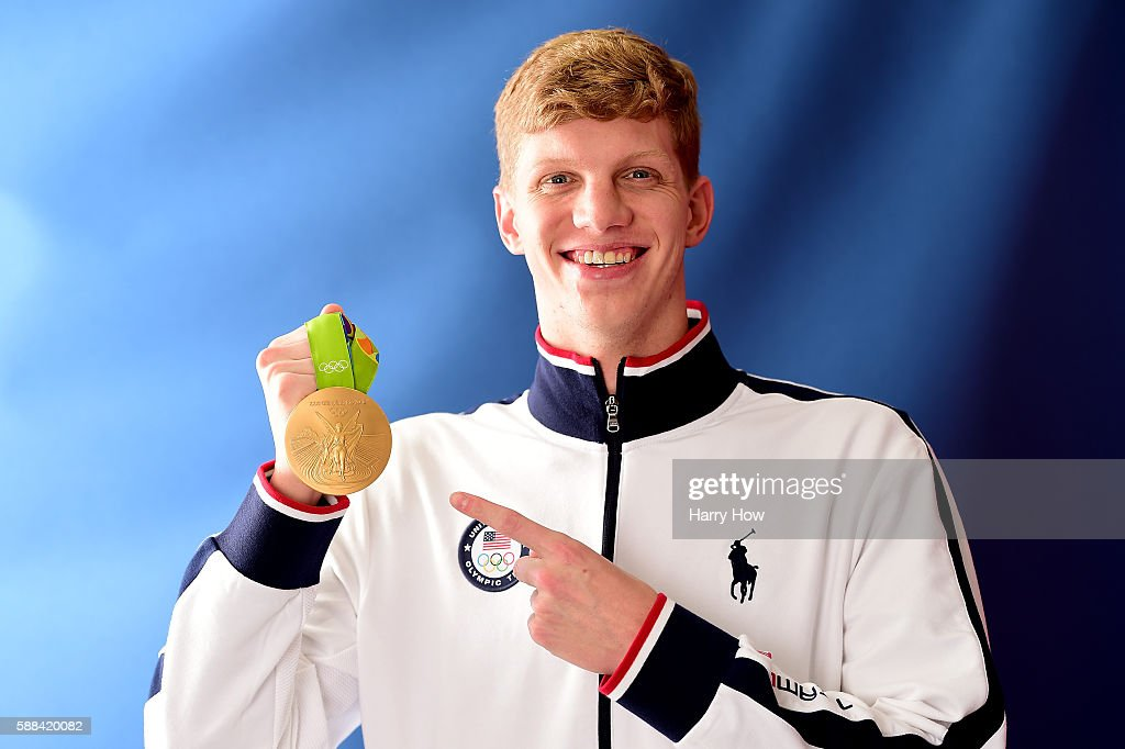 Swimmer Townley Haas of the United States poses for a photo with his gold medal on the Today show set on Copacabana Beach on August 10 2016 in Rio de...