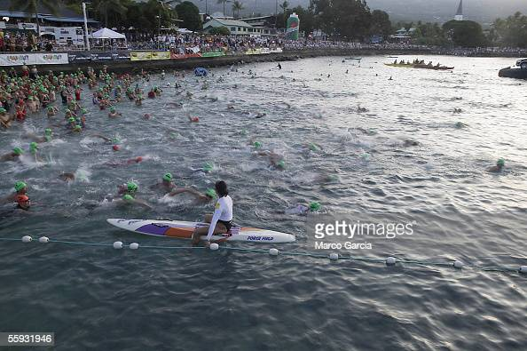 Swimmers begin the swim section of the Ford Ironman World Championship on October 15 2005 in Kona Hawaii Over 1800 athletes from all over the world...