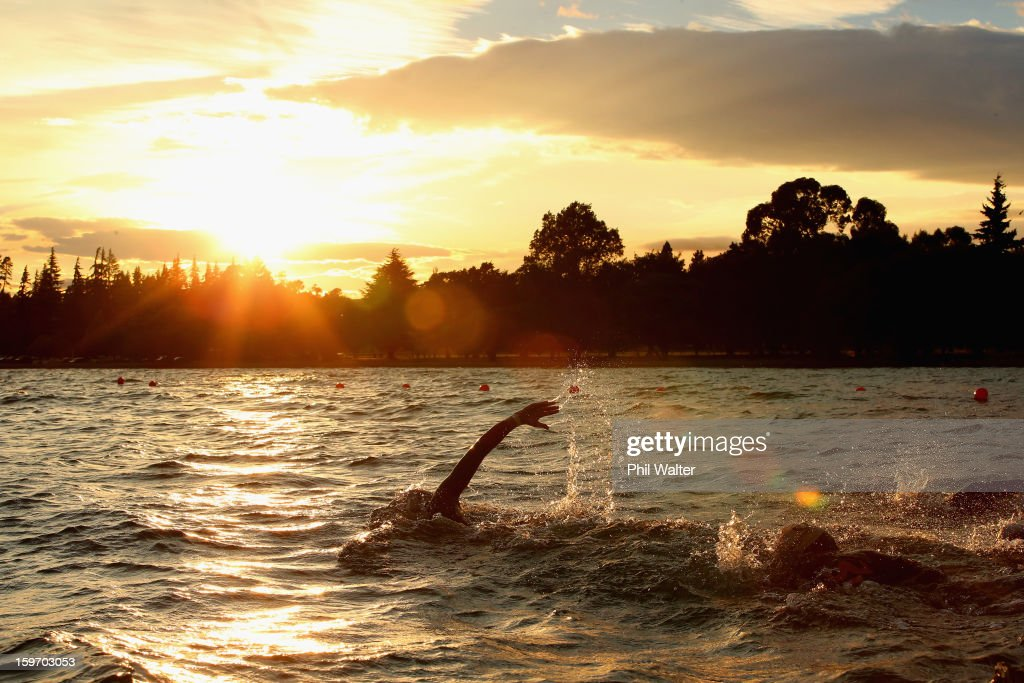 Swimmers compete in the Challenge Wanaka on January 19, 2013 in Wanaka, New Zealand.
