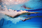 Swimmers compete in the Men's 400m Freestyle heats during day three of the 12th FINA World Swimming Championships at the Hamad Aquatic on December 5...