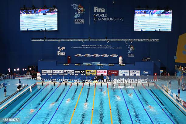 Swimmers compete in the Women's 400m Individual Medley Final on day sixteen of the 16th FINA World Championships at the Kazan Arena on August 9 2015...
