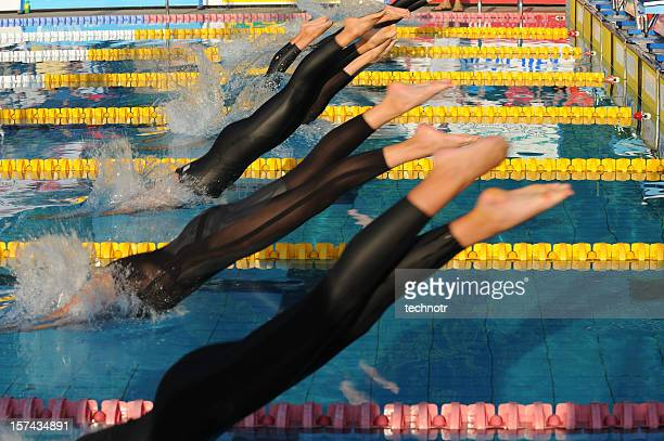 Swimmers diving
