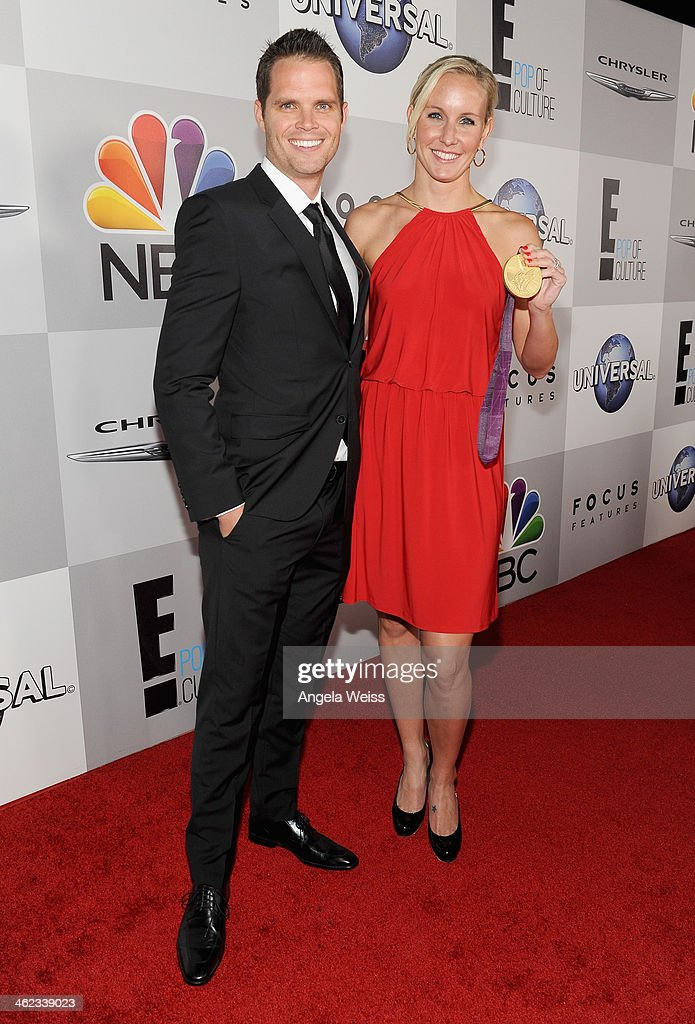 Swimmers Dominik Meichtry (L) and Jessica hardy attend the Universal, NBC, Focus Features, E! sponsored by Chrysler viewing and after party with Gold Meets Golden held at The Beverly Hilton Hotel on January 12, 2014 in Beverly Hills, California.
