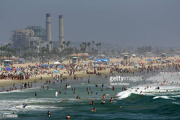 Swimmers find relief from the heat on July 21 2006 in Huntington Beach California According to a recently released study by the University of...