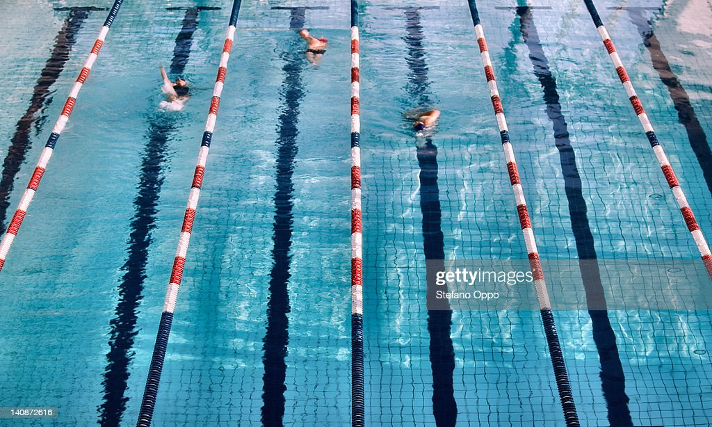 Swimmers in lanes of swimming pool