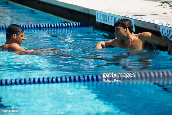 Mark spitz and matt biondi during a swimming competition spitz