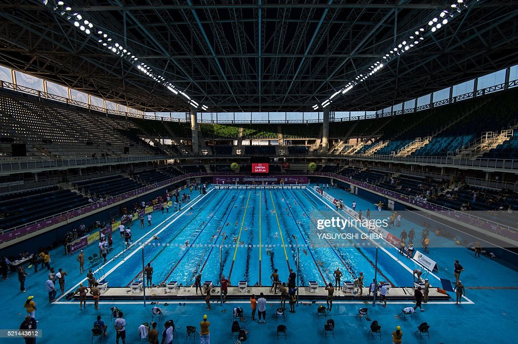 Swimmers Practice During The Maria Lenk Trophy 2016 Test Event For The Rio 2016  Olympic Games At The Olympic Aquatics Stadium At The Olympic Park In Rio De