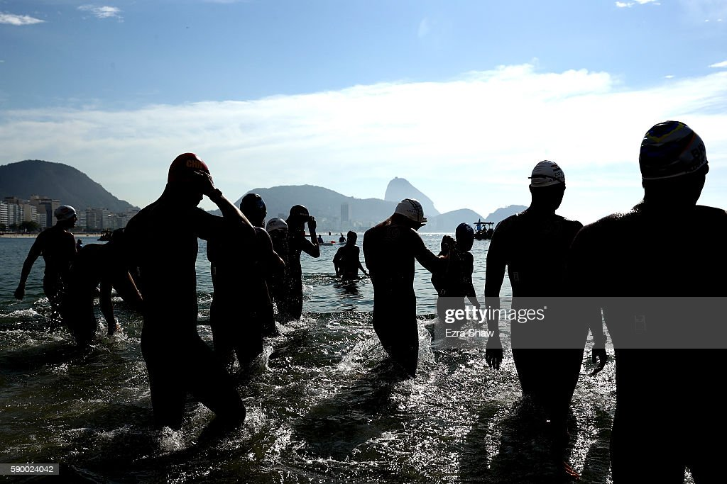 Swimmers prepare for the Men's 10km Marathon Swim on Day 11 of the Rio 2016 Olympic Games at Fort Copacabana on August 16 2016 in Rio de Janeiro...