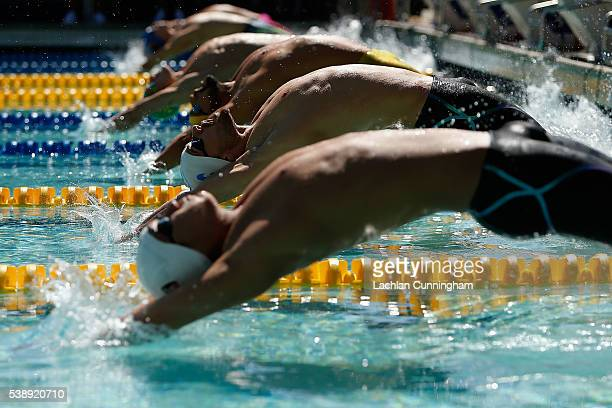 Swimmers start a heat of the 200m backstroke during day three of the 2016 Arena Pro Swim Series at Santa Clara at George F Haines International Swim...