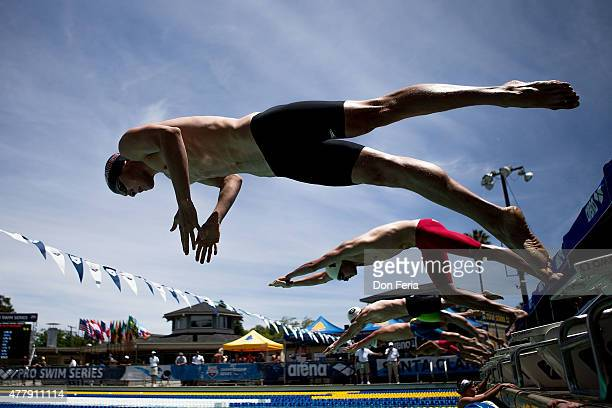 Swimmers start their race in the men's 400 meter freestyle on day three of the 2015 Arena Pro Swim Series at the George F Haines International Swim...