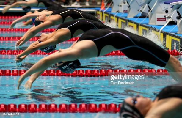 Swimmers starts in the Women's 200 LC Meter Backstroke Final during the 2017 Phillips 66 National Championships World Championship Trials at Indiana...