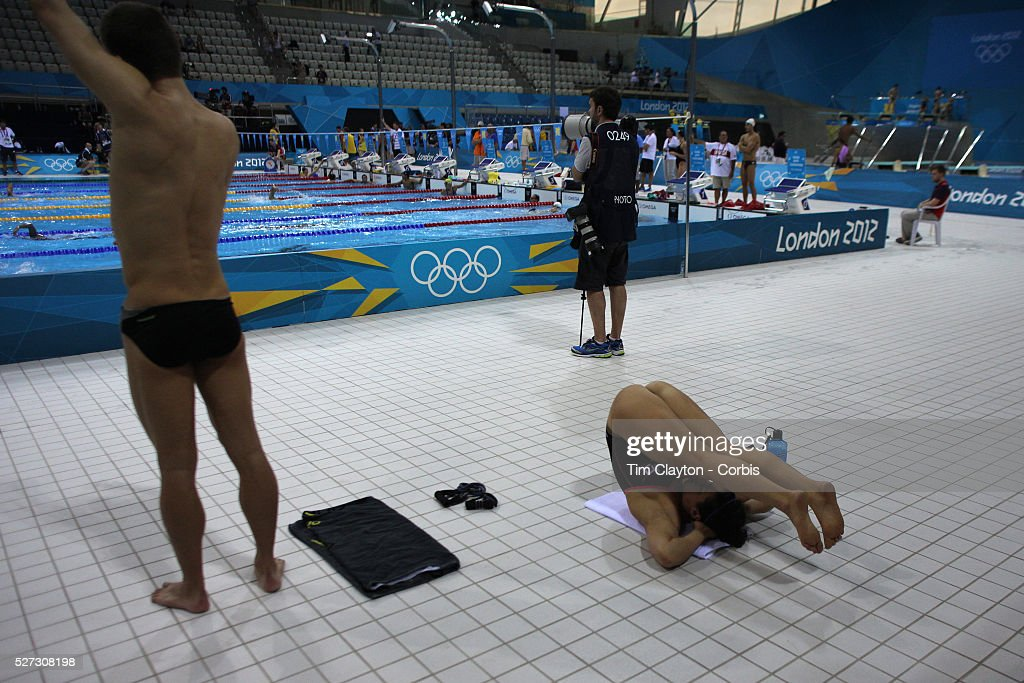 Swimmers Stretching Before Swimming At The Aquatic Centre Olympic Park Stratford During London