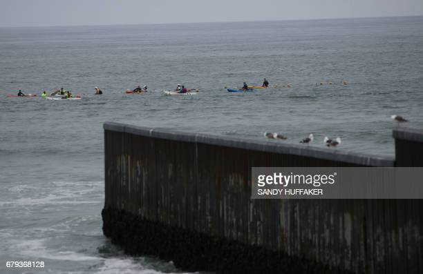 Swimmers swim 10 kilometers across the United StatesMexico border on Friday May 5 2017 in Tijuana Mexico The swimmers who are from five countries are...