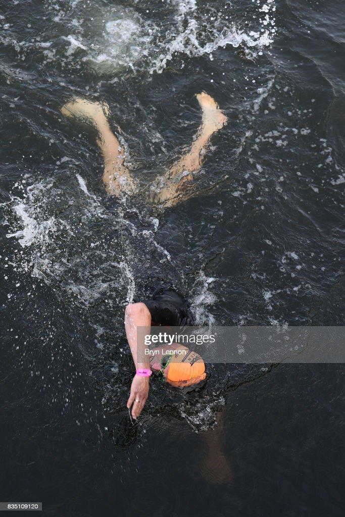 Swimmers train in the water ahead of ahead of IRONMAN Kalmar on August 18, 2017 in Kalmar, Sweden.