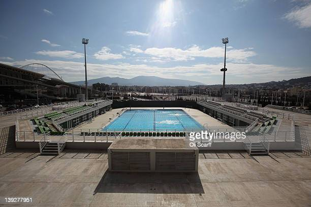 Swimmers use an outdoor pool which forms part of the Olympic Aquatic Centre in the 2004 Olympic Games Complex on February 18 2012 in Athens Greece In...