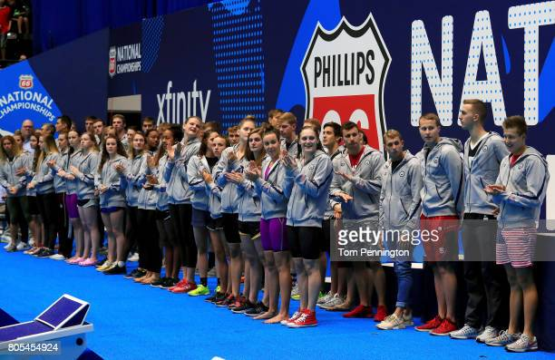 Swimmers who qualified for the World Championship Team are announced during the 2017 Phillips 66 National Championships World Championship Trials at...