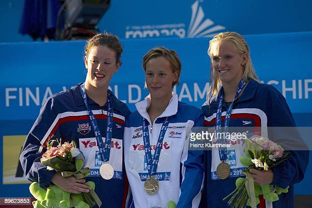 13th FINA World Championships USA Allison Schmitt Italy Federica Pellegrini and USA Dana Vollmer victorious with medals after Women's 200M Freestyle...
