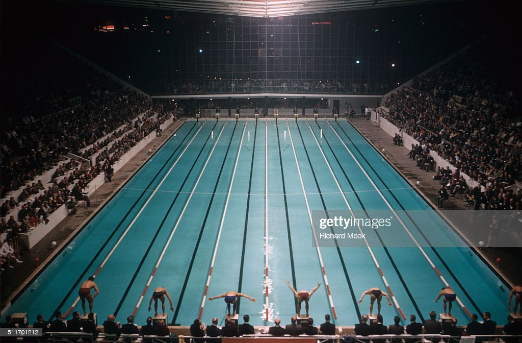 Overall View Of Swimmers On Block Before Mens Race At Olympic Park Swimming And Diving Stadium