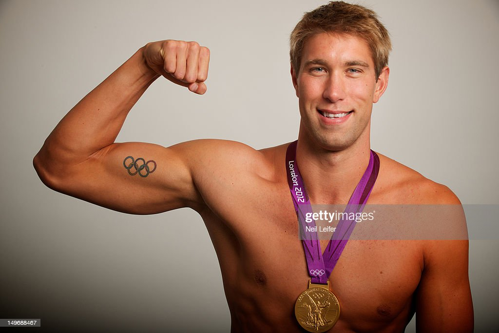 Closeup portrait of USA Matt Grevers posing during photo shoot at NBC Today Show television set in Olympic Park. Grevers won the 100M Backstroke gold medal. Neil Leifer X155355 TK4 )
