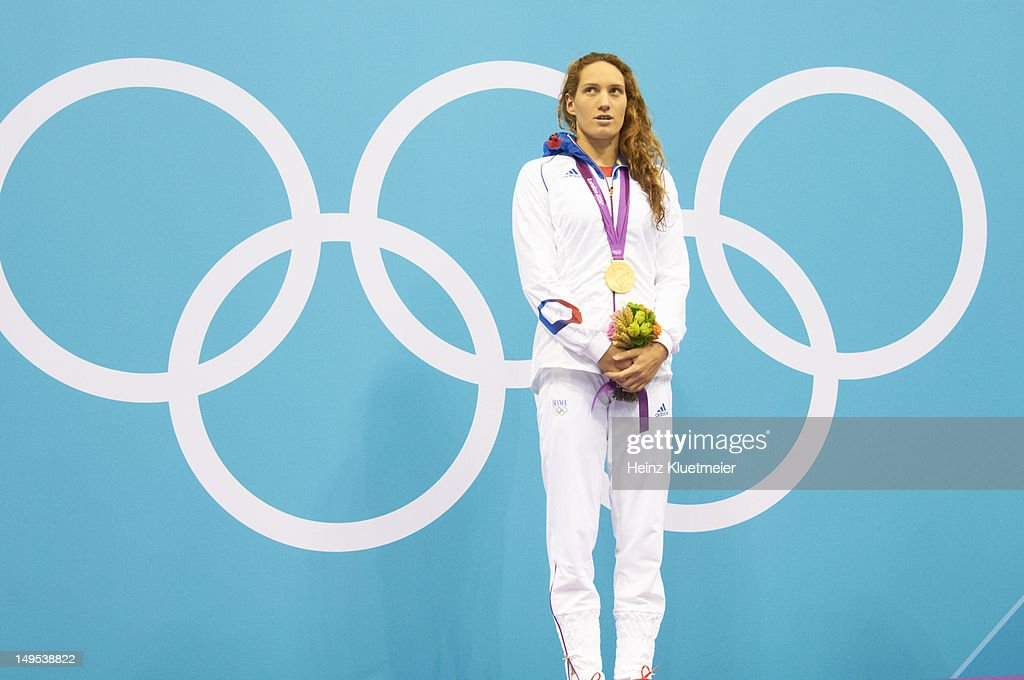 2012 Summer Olympics France Camille Muffat victorious with gold medal after setting Olympic record with time of 40145 during Women's 400M Freestyle...