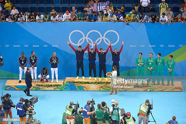 2016 Summer Olympics Overview of France Mehdy Metella Fabien Gilot Florent Manaudou and Jeremy Stravius with silver medals USA Nathan Adrian Ryan...