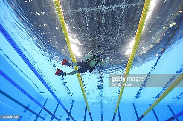 2016 Summer Olympics Underwater view of SI photographer Donald Miralle underwater in scuba gear to install remote cameras before race at Olympic...